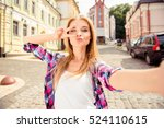 selfie of funny attractive girl ... | Shutterstock . vector #524110615
