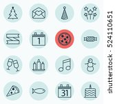 set of 16 christmas icons. can... | Shutterstock .eps vector #524110651