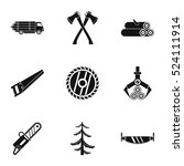 cutting down trees icons set.... | Shutterstock .eps vector #524111914
