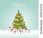 christmas tree and christmas... | Shutterstock .eps vector #524112121