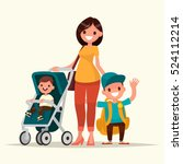 young mother with a baby in a... | Shutterstock .eps vector #524112214