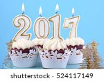happy new year cupcakes with... | Shutterstock . vector #524117149
