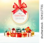 christmas presents with a gift... | Shutterstock .eps vector #524117731