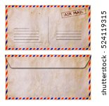 Small photo of Set of front and back side old grunge airmail envelope isolated on white