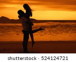 silhouette of happy young love... | Shutterstock . vector #524124721