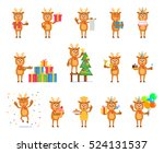 big set of reindeer characters... | Shutterstock .eps vector #524131537
