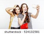 two best friends teenage girls... | Shutterstock . vector #524132581