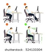sitting posture set. right and... | Shutterstock .eps vector #524133304