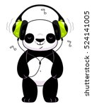 panda in headphones | Shutterstock .eps vector #524141005