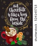 hot chocolate with marshmallow  ... | Shutterstock .eps vector #524145715