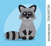 raccoon cartoon flat cute card... | Shutterstock .eps vector #524145739