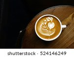 Cup Of Latte Art Coffee On...