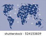world map in hotel and flight... | Shutterstock . vector #524153839
