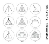 line icons of tents on white... | Shutterstock .eps vector #524159401