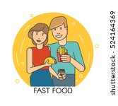 couple eating fast food | Shutterstock .eps vector #524164369