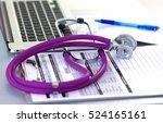 medical stethoscope near ... | Shutterstock . vector #524165161