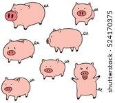 vector set of pig | Shutterstock .eps vector #524170375
