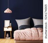 mock up posters in bedroom... | Shutterstock . vector #524174005