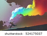 boy running and holding up... | Shutterstock . vector #524175037