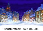 fabulous snow covered town in... | Shutterstock .eps vector #524183281