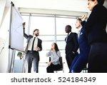 cheerful businessman discussing ... | Shutterstock . vector #524184349