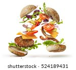 burger with flying ingredients | Shutterstock . vector #524189431