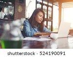 beautiful hipster woman using... | Shutterstock . vector #524190091