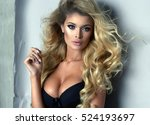 sexy blond woman wear black... | Shutterstock . vector #524193697