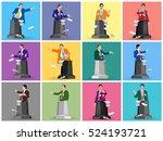 set stock vector of public... | Shutterstock .eps vector #524193721