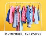 Clothes Hanging On Rack  Closeup