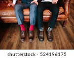 men's feet in stylish shoes and ... | Shutterstock . vector #524196175
