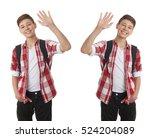 set of cute teenager boy in red ... | Shutterstock . vector #524204089