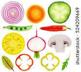 Slices Of Vegetable Isolated O...