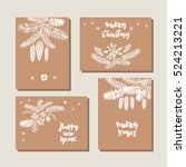 set of hand drawn christmas... | Shutterstock .eps vector #524213221