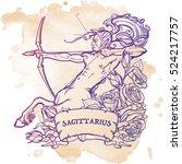sagittarius zodiac sign with a... | Shutterstock .eps vector #524217757