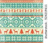 traditional knitted vintage...   Shutterstock .eps vector #524219611