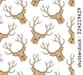 deer vector seamless pattern