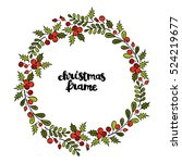 christmas frame. twigs and... | Shutterstock .eps vector #524219677