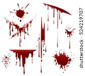bloody horror scruffy splatter. ... | Shutterstock .eps vector #524219707
