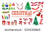 artistic watercolor christmas... | Shutterstock . vector #524220865