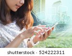close up younger woman touching ... | Shutterstock . vector #524222311