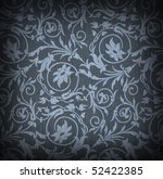 Blue textile background with floral ornament - stock photo