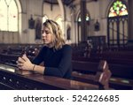 woman sitting church religion... | Shutterstock . vector #524226685