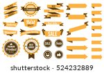 set of yellow ribbons   badges... | Shutterstock .eps vector #524232889