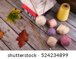 stack of cozy colorful knitted... | Shutterstock . vector #524234899