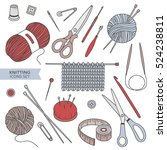 set of tools for knitting and... | Shutterstock .eps vector #524238811
