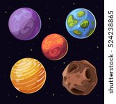 cartoon alien planets  moons... | Shutterstock . vector #524238865