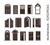 open and closed door black... | Shutterstock . vector #524239261