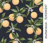 seamless orange pattern.vintage ... | Shutterstock .eps vector #524244247