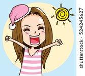 cartoon character yawning woman ... | Shutterstock .eps vector #524245627